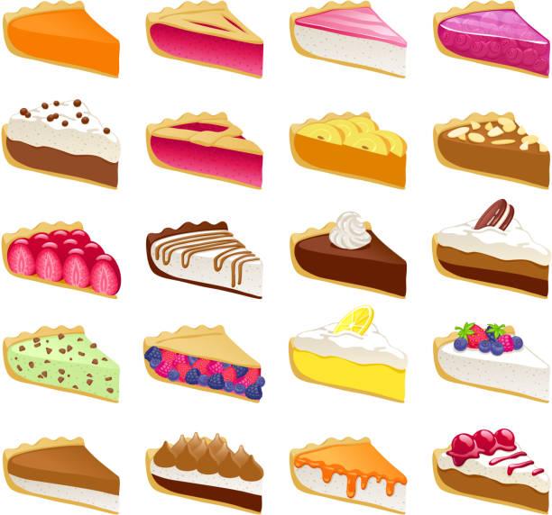 bunte süße torten scheiben set vektor-illustration - vanillesauce stock-grafiken, -clipart, -cartoons und -symbole