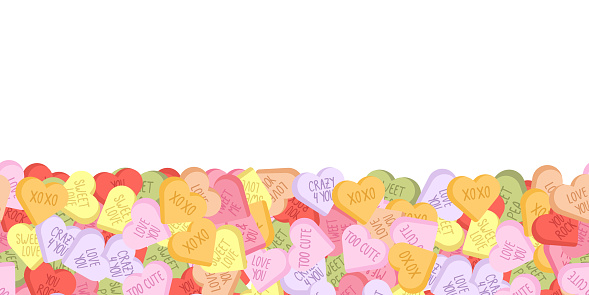 Colorful sweethearts seamless background for February, 14.