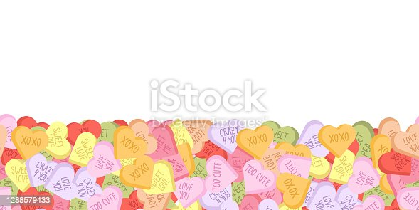 istock Colorful sweethearts seamless background for February, 14. 1288579433