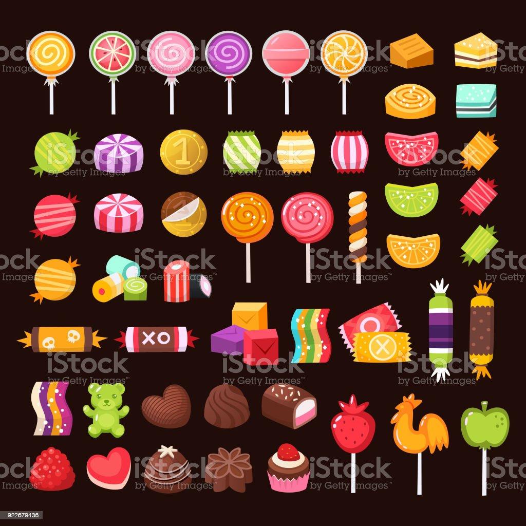 Bunten Süßigkeiten Und Bonbons Stock Vektor Art Und Mehr Bilder Von