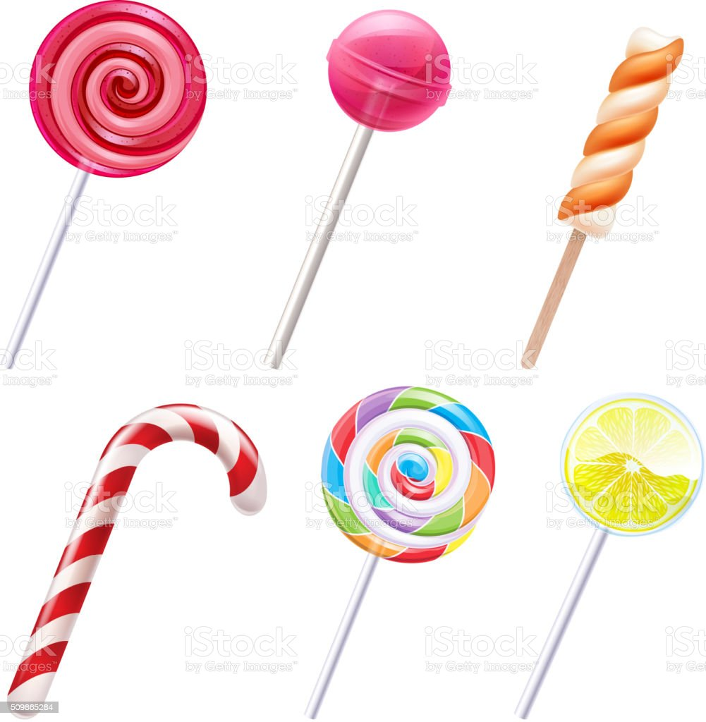 Colorful sweets icons set - vector illustration vector art illustration