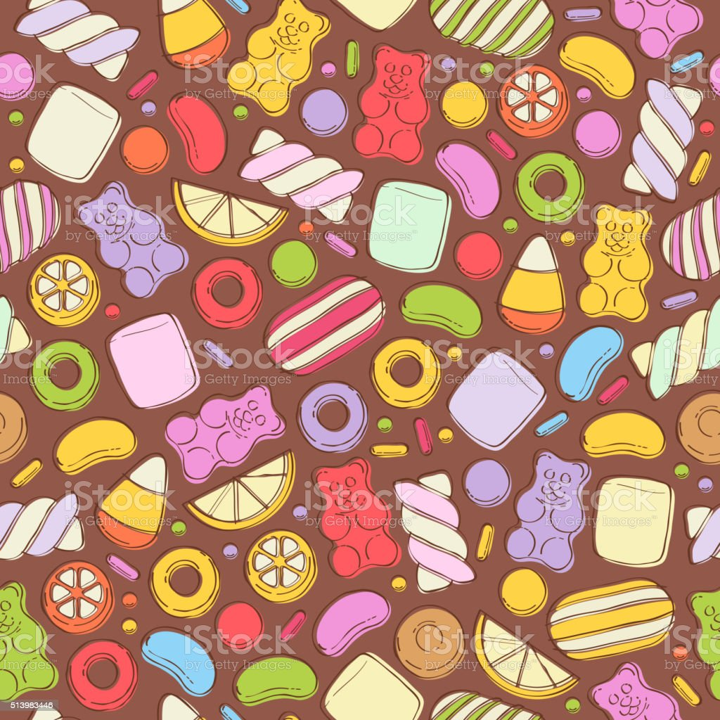 Colorful sweets pattern. Assorted candies vector art illustration