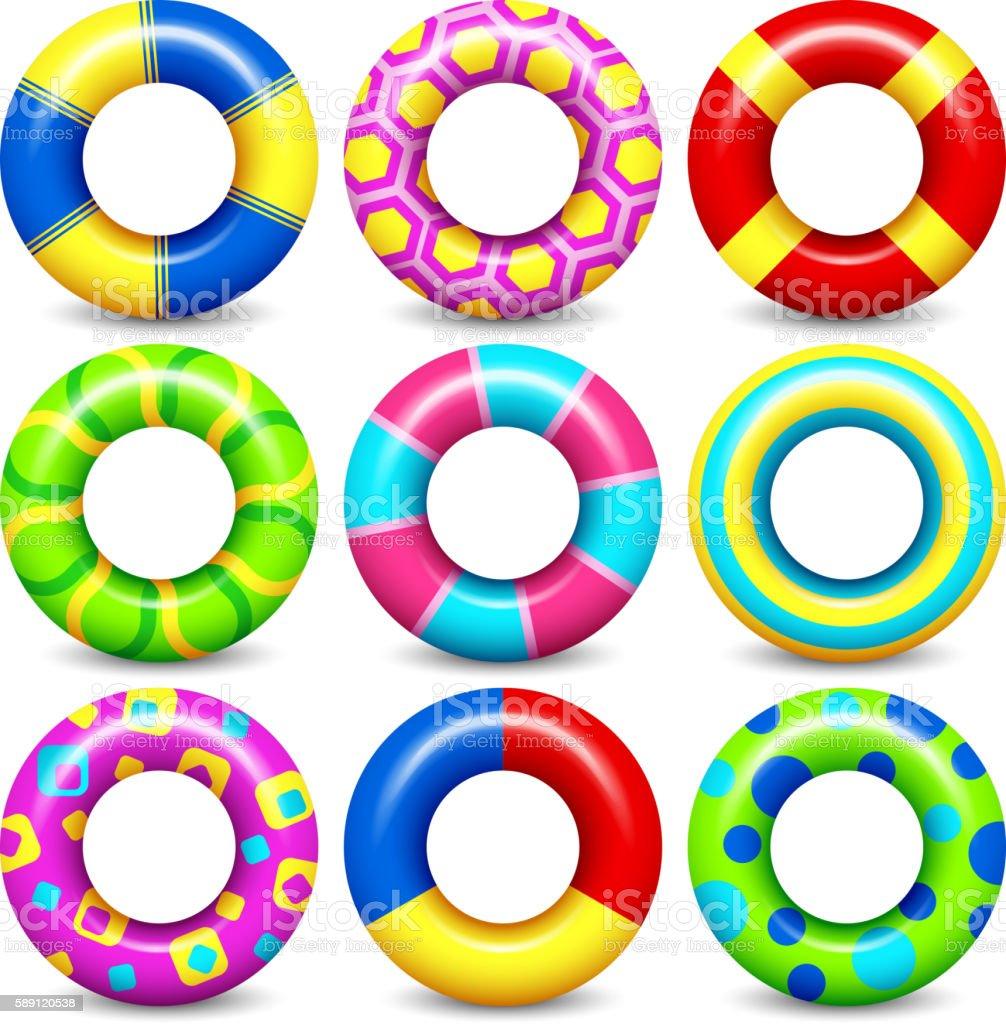 Colorful swim rings vector set vector art illustration