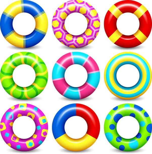 ilustrações de stock, clip art, desenhos animados e ícones de colorful swim rings vector set - brinquedos na piscina