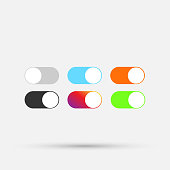 Colorful switch on - off buttons isolated on white.