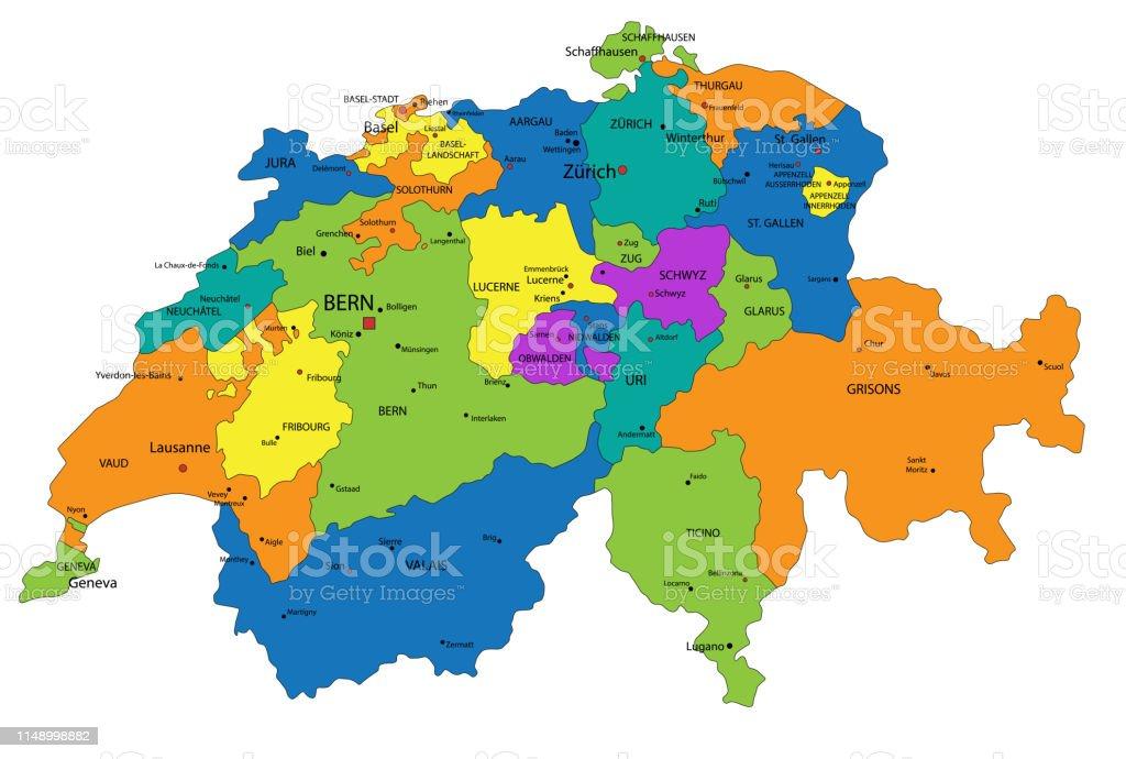 Svizzera Cartina Geografica Politica.Mappa Politica Della Svizzera Colorata Con Strati Chiaramente Etichettati E Separati Immagini Vettoriali Stock E Altre Immagini Di Alpi Istock