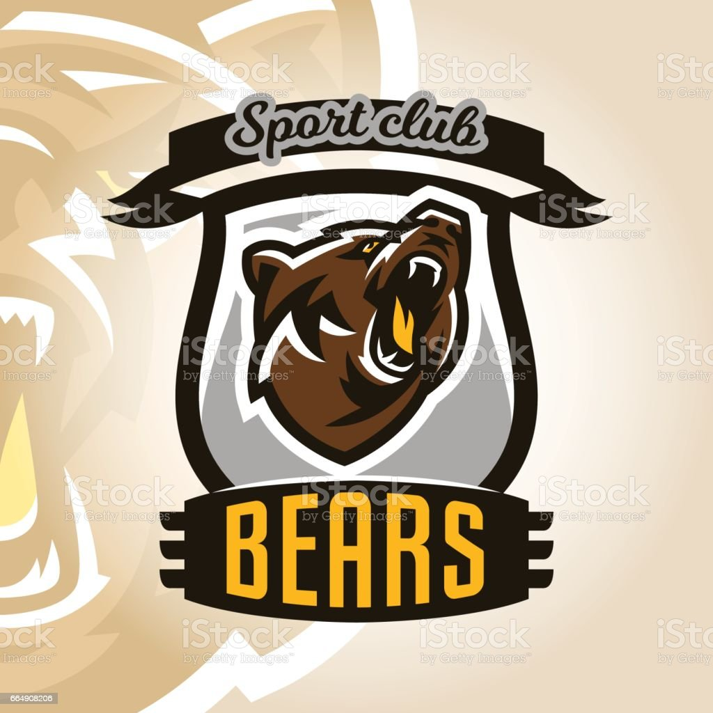Colorful symbol, emblem, growling bear, grizzly, evil predator ready to attack. Sports style, vector illustration, printing on T-shirts colorful symbol emblem growling bear grizzly evil predator ready to attack sports style vector illustration printing on tshirts - immagini vettoriali stock e altre immagini di animale royalty-free