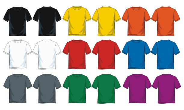 ilustrações de stock, clip art, desenhos animados e ícones de colorful t shirt collection for men. - teeshirt template
