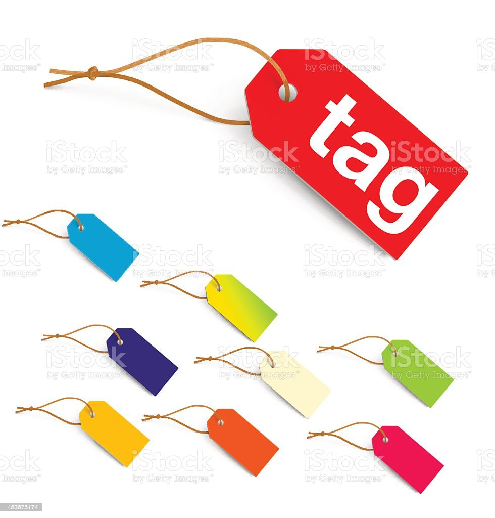 Colorful tags isolated on white background. Vector illustration vector art illustration