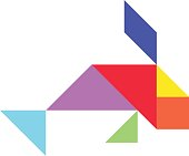 Colorful tangram in fish shape on white background (Vector)