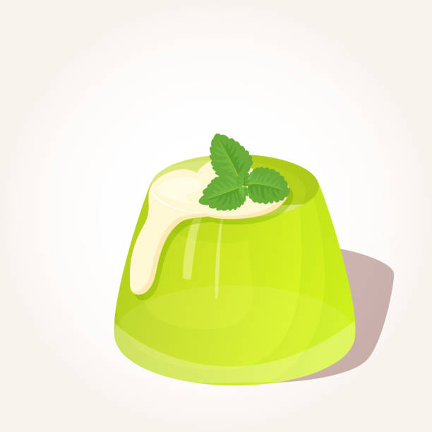 Colorful tasty green jelly with creme and mint in cartoon style isolated on white background. Vector illustration. Desserts Collection. Colorful tasty green jelly with creme and mint in cartoon style isolated on white background. Vector illustration for Desserts Collection. jello stock illustrations