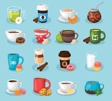 Colorful tea and coffee vector labels set.