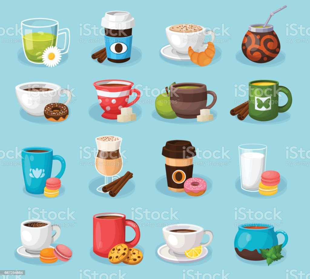 Colorful tea and coffee vector labels set. vector art illustration