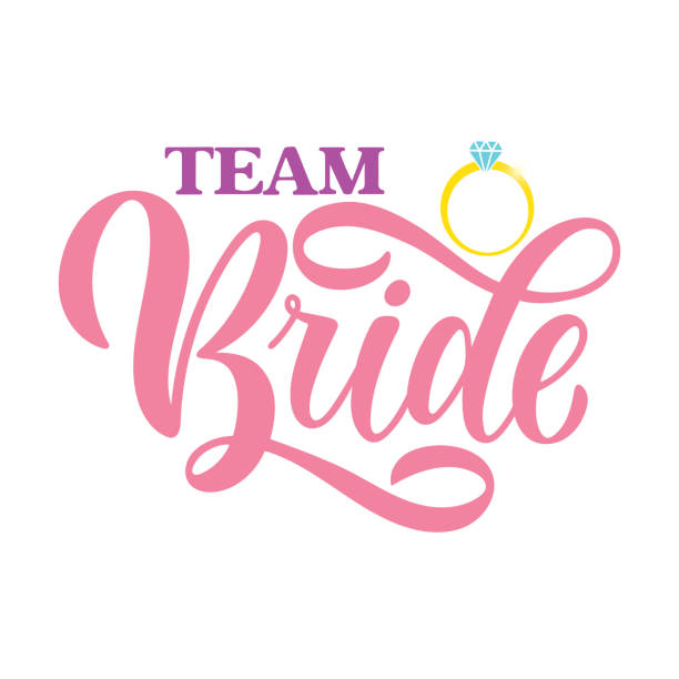 Colorful Team Bride tag on white background and engagement ring. Bachelorette party/ Bridal shower/ Hen party calligraphy element for invitation card, banner or poster graphic design. Vector lettering vector art illustration