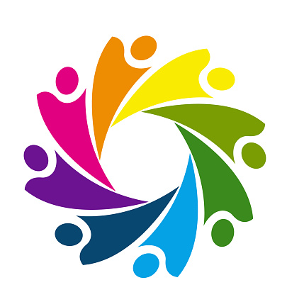 Colorful Teamwork Business Socialhappiness People Or Unity ...