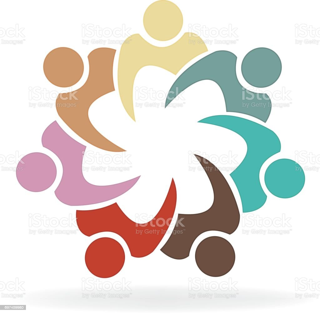 Colorful teamwork people business identity card vector art illustration