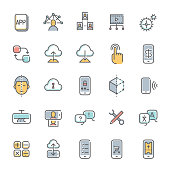A set of colorful technology minimalist line icons.