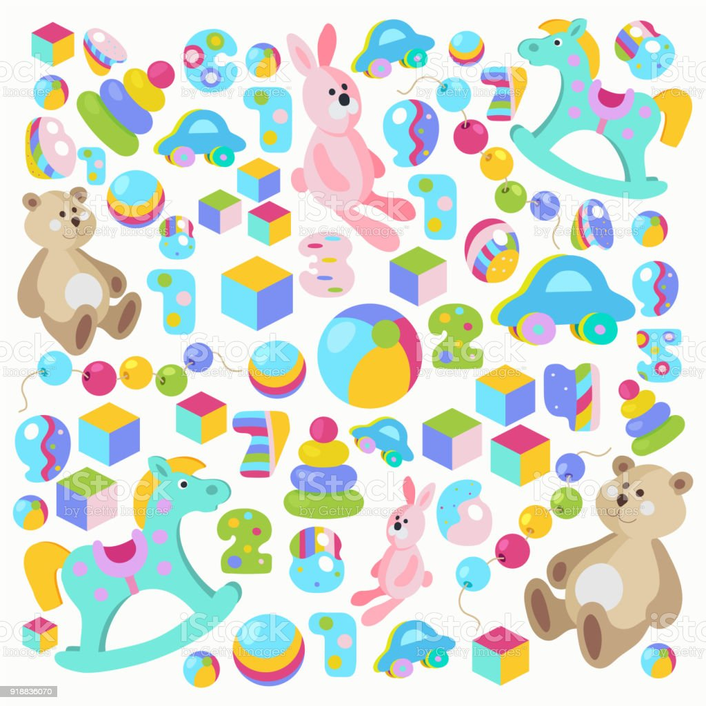 Colorful Teddy Bear Rocking Horse Pink Rabbit Toys Set Stock Illustration Download Image Now Istock