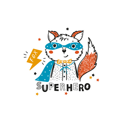 Colorful Tee Print design for Kids with Funny Cute Fox in Mask and Superhero Cape. Cartoon Doodle Animal. Poster for Children Vector Illustration