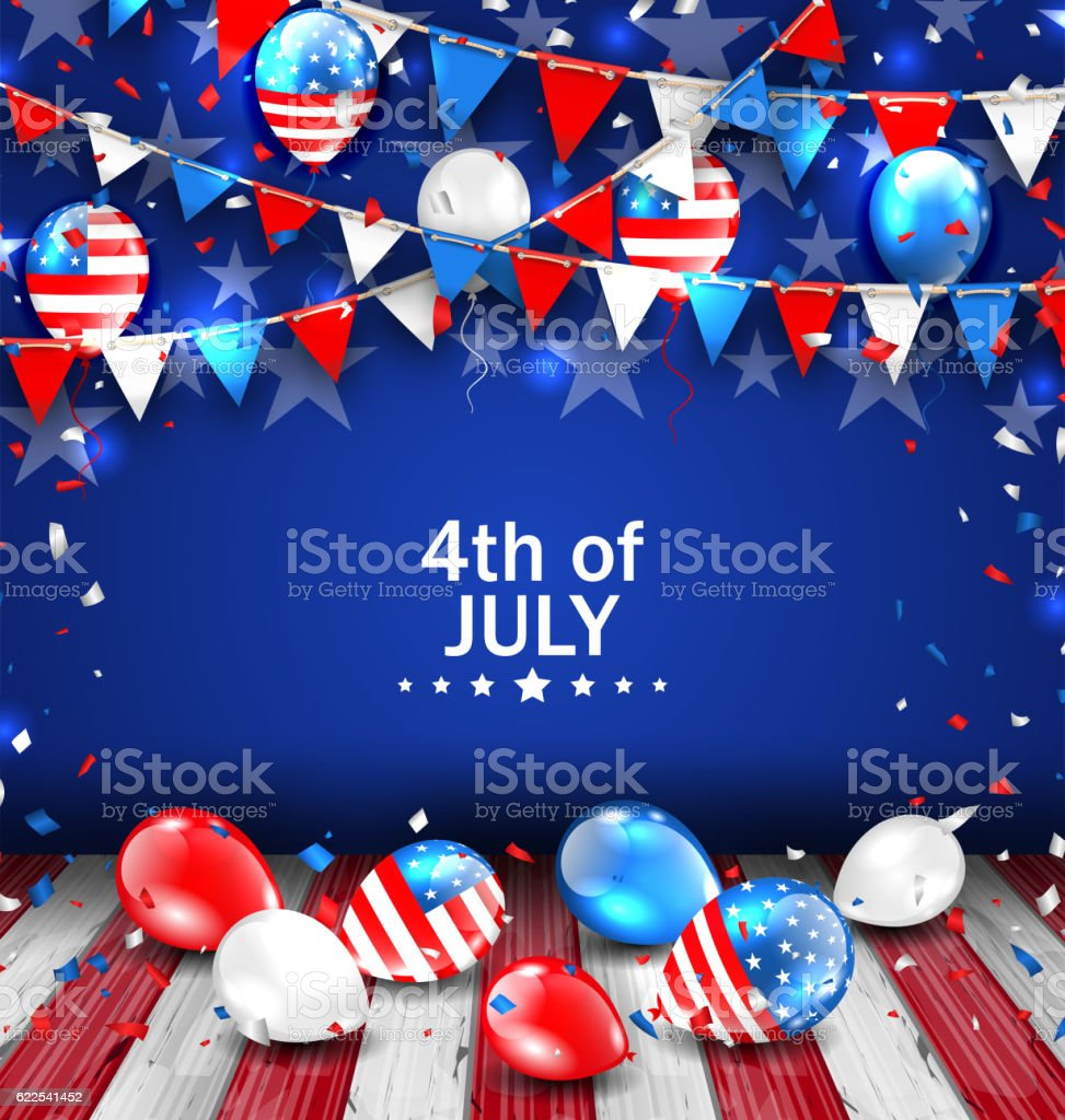 Colorful Template for American Independence Day vector art illustration