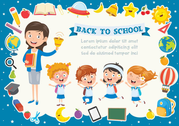 Colorful Template With Cute Children Colorful Template With Cute Children elementary school teacher stock illustrations