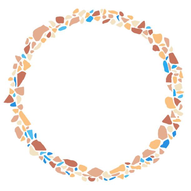bunte terrazzo runder rahmen, mit dem leeren raum für text. abstrakte farbsteine hintergrund, vektor-illustration. - kieselmosaik stock-grafiken, -clipart, -cartoons und -symbole