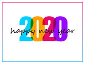 Colorful text 2020 on white background for Happy New Year celebration greeting card or poster design.