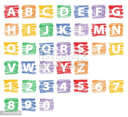 Vector illustration of a white alphabet with numbers on colorful textured backgrounds.