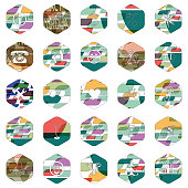 Colorful textured hexagon pattern icon collection