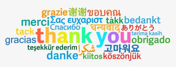 illustrazioni stock, clip art, cartoni animati e icone di tendenza di colorful thank you word cloud in different languages - lingua