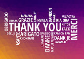 Colorful Thank You Word Cloud in vector format - illustration