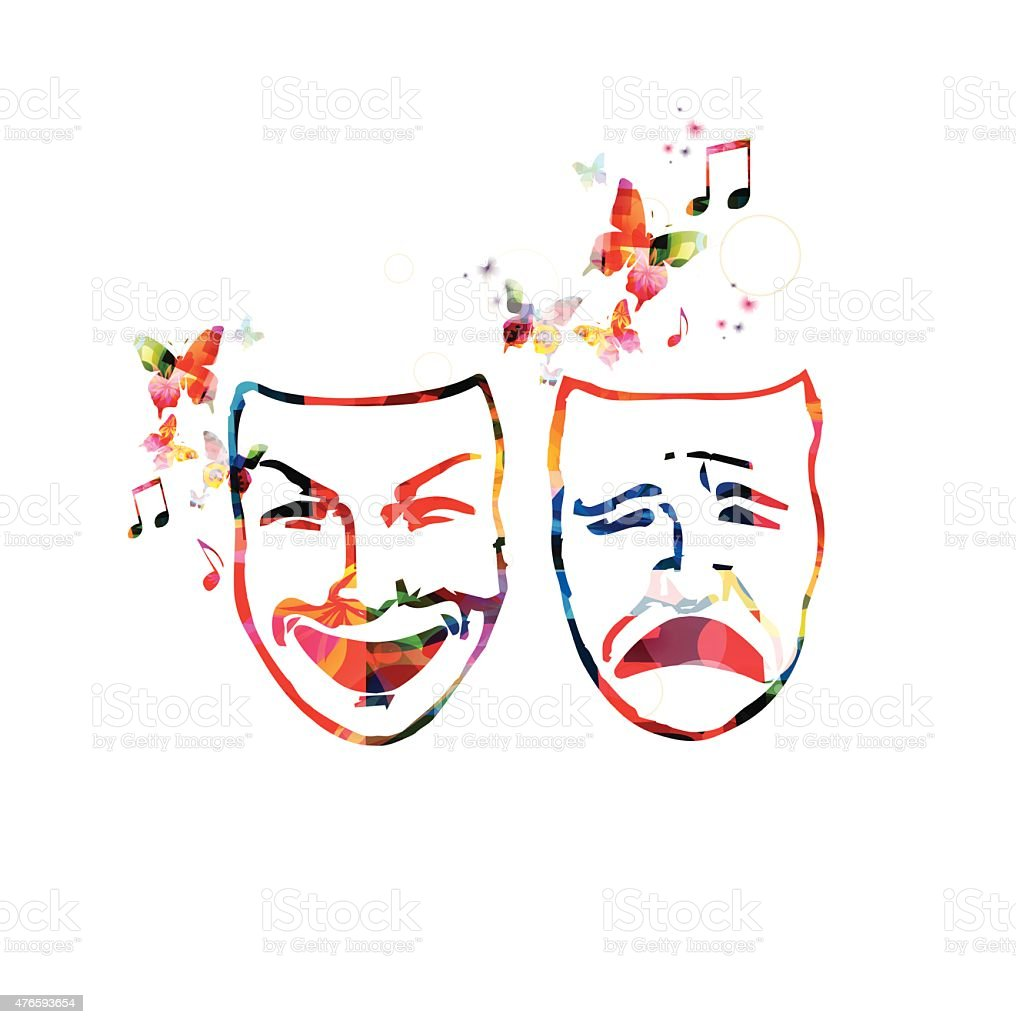 Colorful theater masks vector art illustration