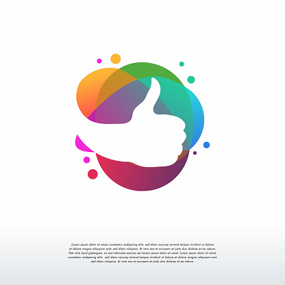 Colorful Thumb logo vector, Like logo designs template, design concept, logo, logotype element for template