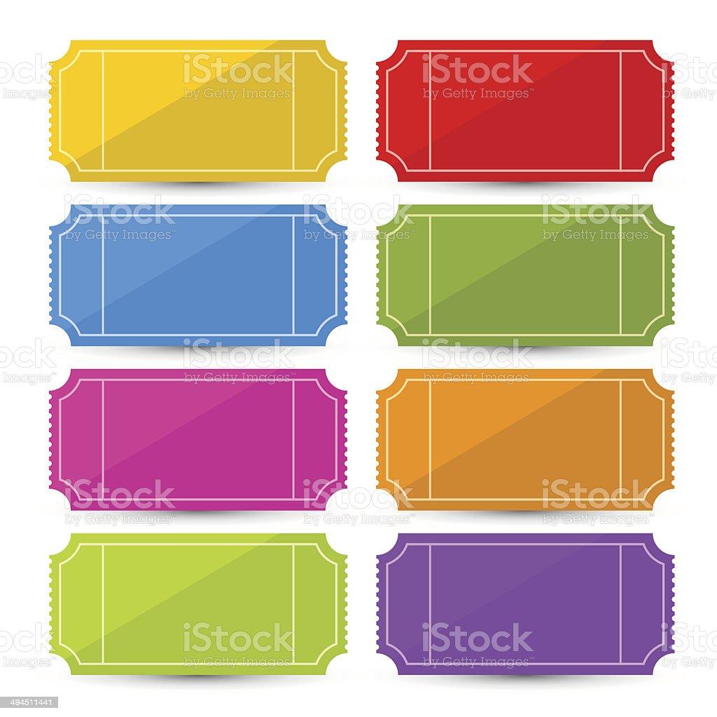 Colorful Ticket Set vector art illustration