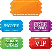 Colorful Ticket Vector Labels
