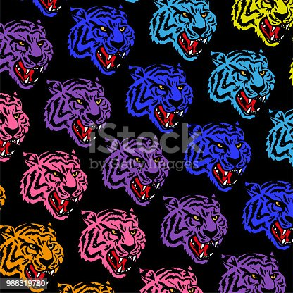 istock Colorful tigers pattern 966319780