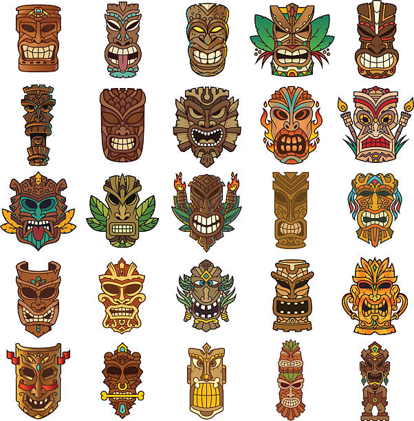 Colorful Tiki Head Design Set vector art illustration