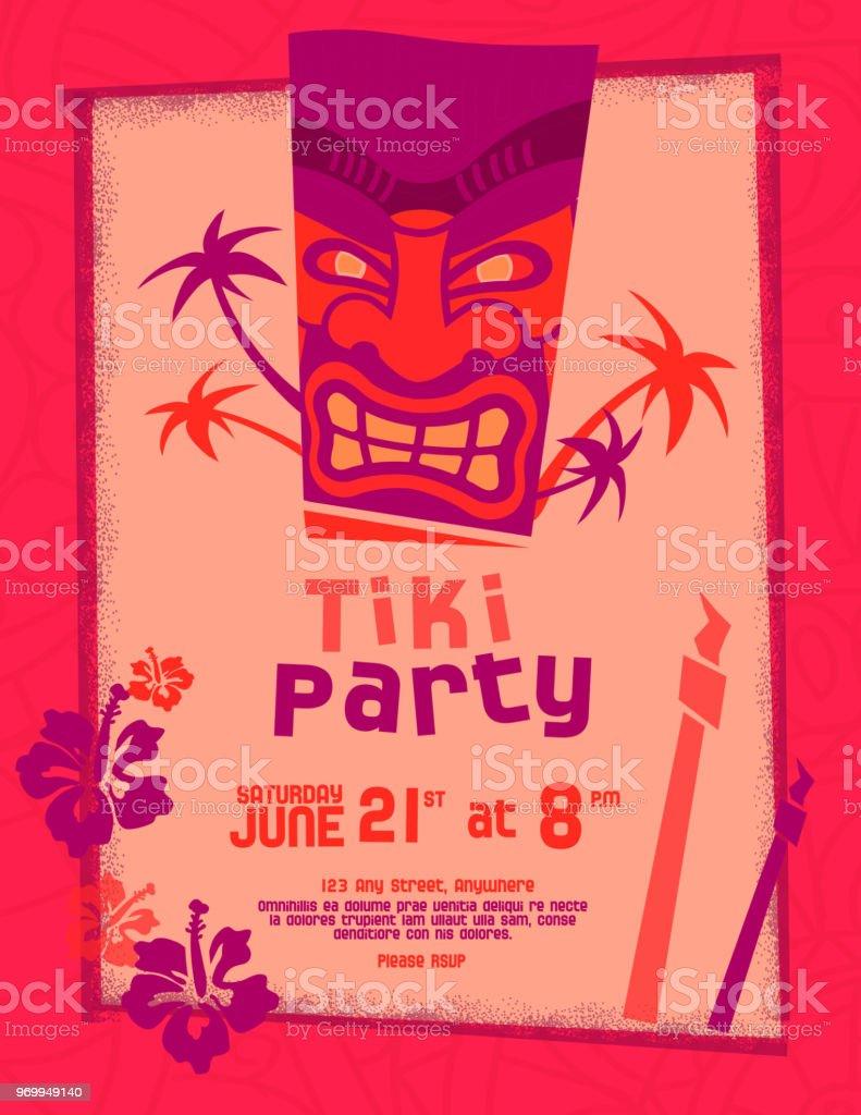 Colorful Tiki Party Invitation Design Template Stock Vector Art ...