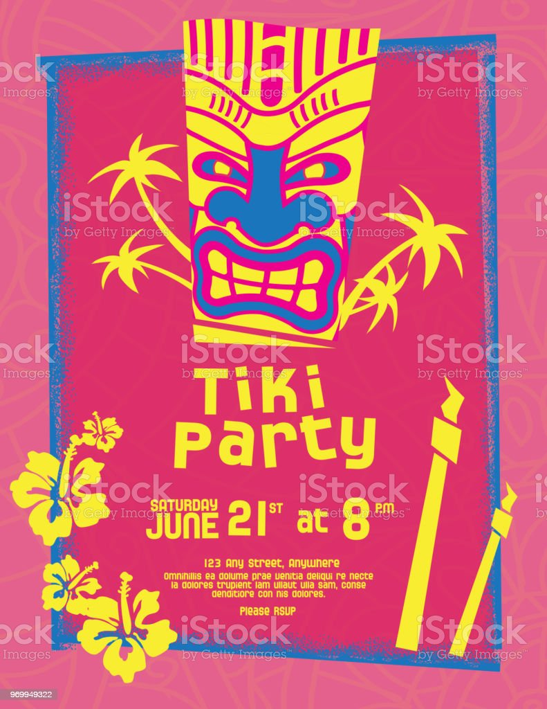 Colorful Tiki Party invitation design template vector art illustration