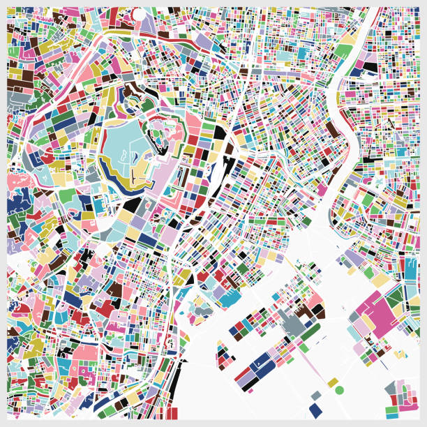 colorful tokyo art map background - graffiti backgrounds stock illustrations, clip art, cartoons, & icons