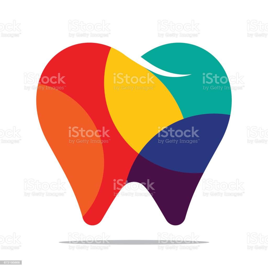 Colorful tooth icon vector art illustration