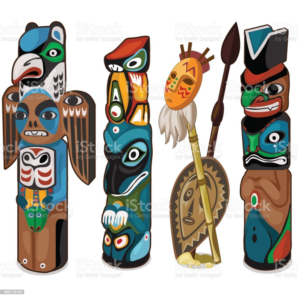 Colorful totems with faces of people and birds royalty-free colorful totems with faces of people and birds stock vector art & more images of adult