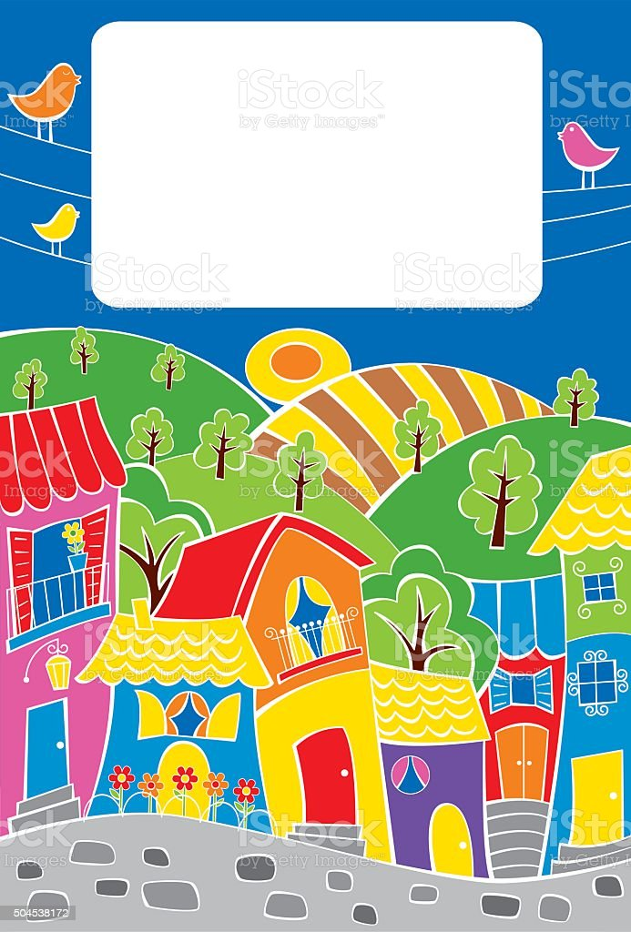 Colorful town vector art illustration