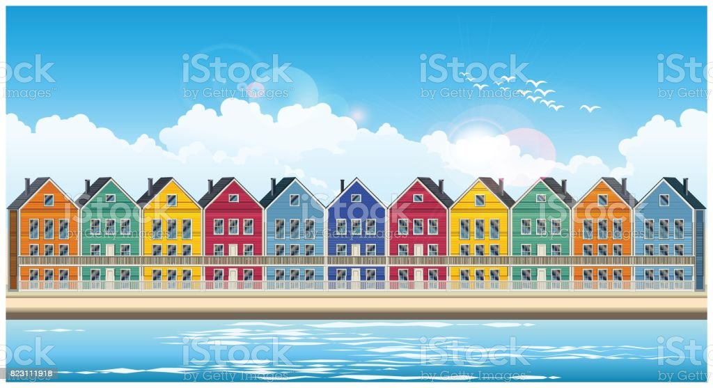 colorful townhouses vector art illustration