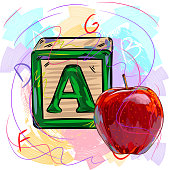 Colorful Toy Block and Apple, EPS8 file, all elements are in separate layers and grouped. please visit my portfolio for more options.