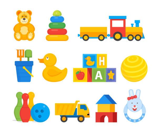 buntes spielzeug für kleinkinder kinder - puppenkurse stock-grafiken, -clipart, -cartoons und -symbole