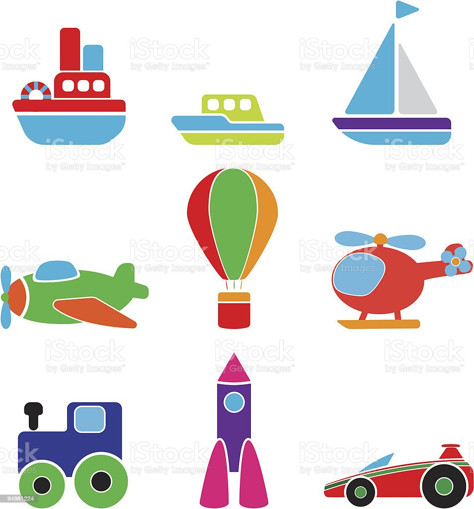 Colorful toys to children who represent means of transport royalty-free colorful toys to children who represent means of transport stock vector art & more images of air vehicle