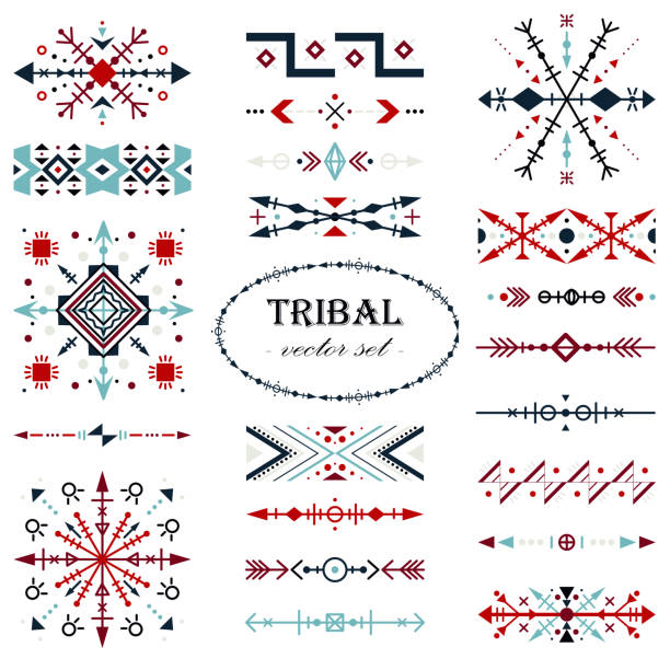 stockillustraties, clipart, cartoons en iconen met kleurrijke traditionele vector set. borstel ingesteld in tribal stijl. - indonesische cultuur