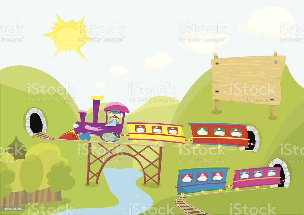 colorful train ready to deliver your message royalty-free stock vector art