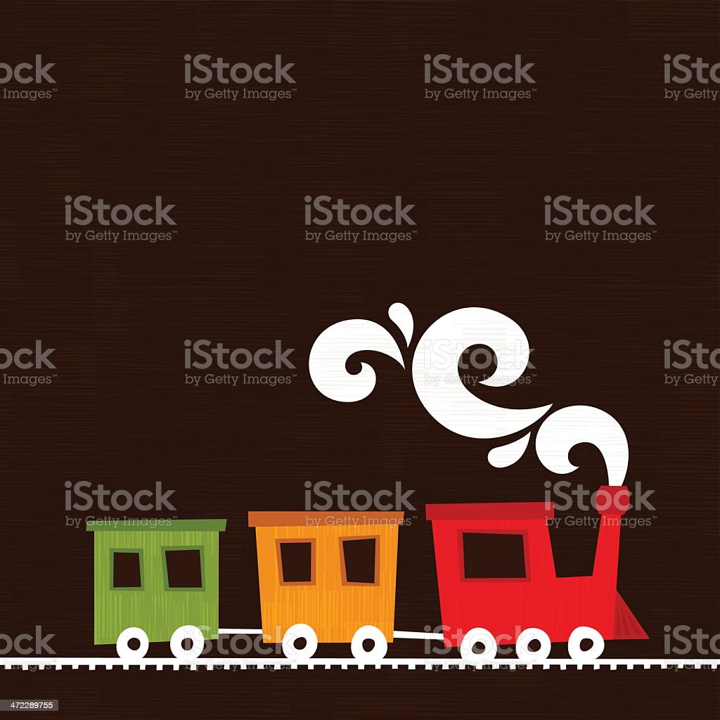 Colorful Train vector art illustration